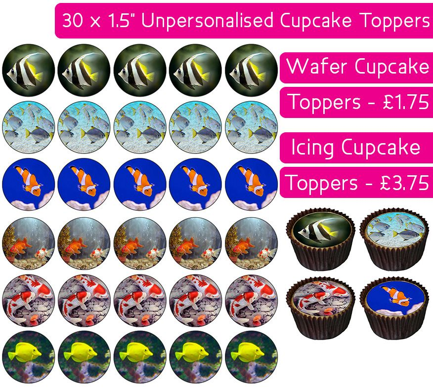 Fish - 30 Cupcake Toppers