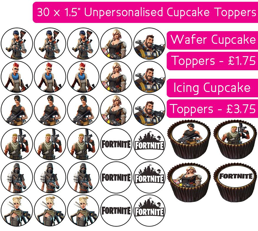 Fortnite - 30 Cupcake Toppers