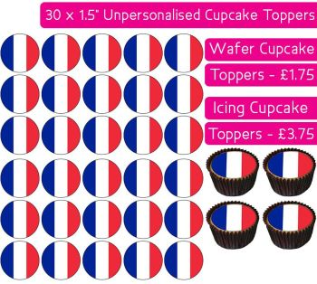 France Flag - 30 Cupcake Toppers