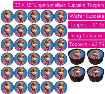 Frozen Anna - 30 Cupcake Toppers