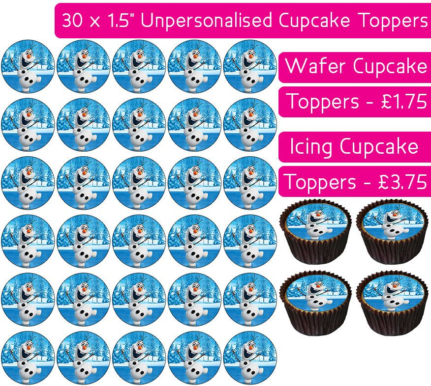 Frozen Olaf - 30 Cupcake Toppers