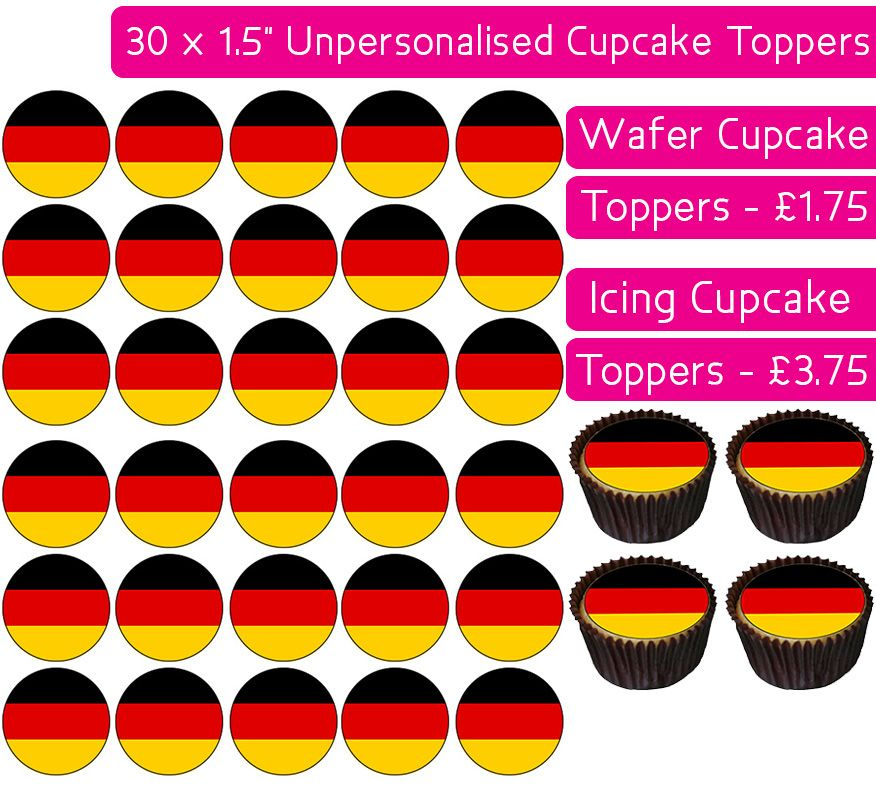 Germany Flag - 30 Cupcake Toppers