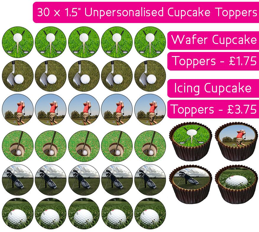 Golf - 30 Cupcake Toppers