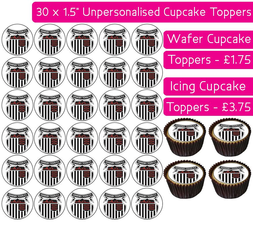 Grimsby Football - 30 Cupcake Toppers