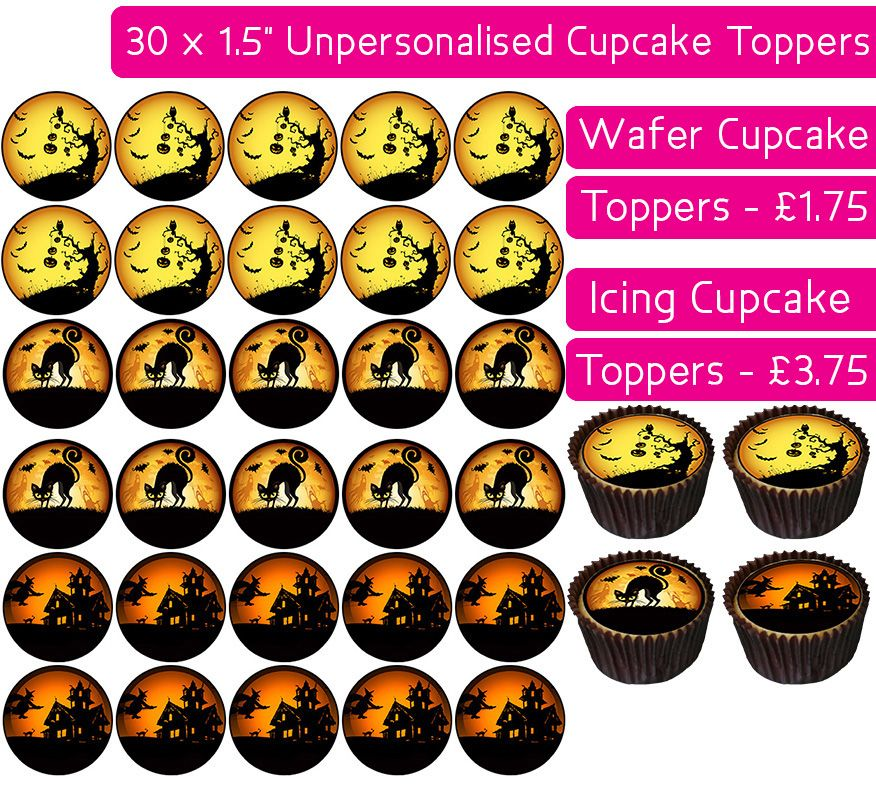 Halloween - 30 Cupcake Toppers