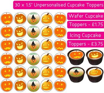 Halloween Pumpkin - 30 Cupcake Toppers