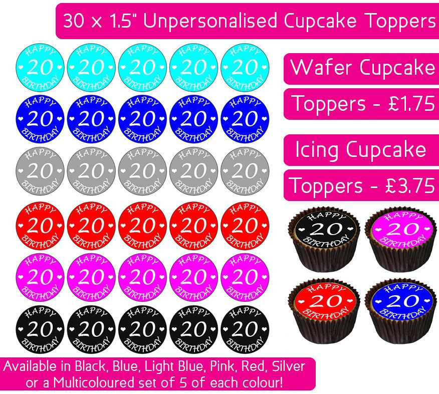 Happy 20th Birthday - 30 Cupcake Toppers