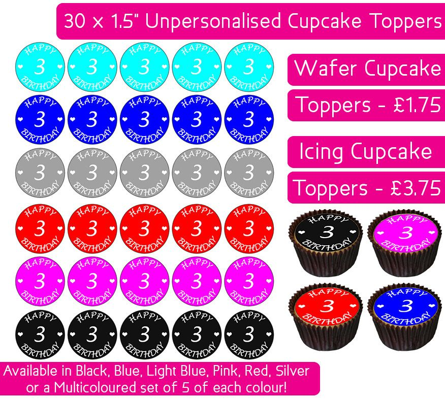 Happy 3rd Birthday - 30 Cupcake Toppers