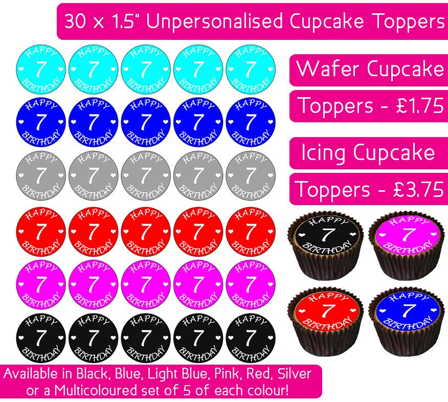 Happy 7th Birthday - 30 Cupcake Toppers