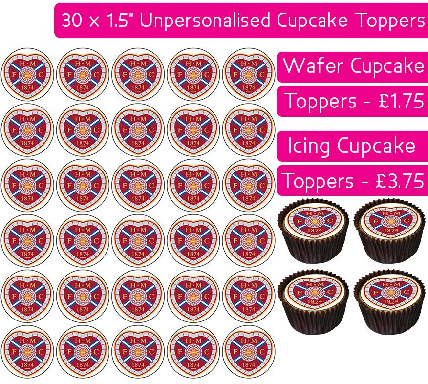 Heart Of Midlothian Football - 30 Cupcake Toppers
