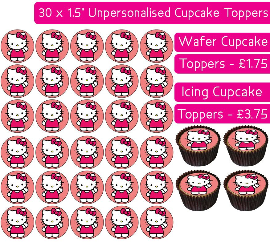 Hello Kitty - 30 Cupcake Toppers