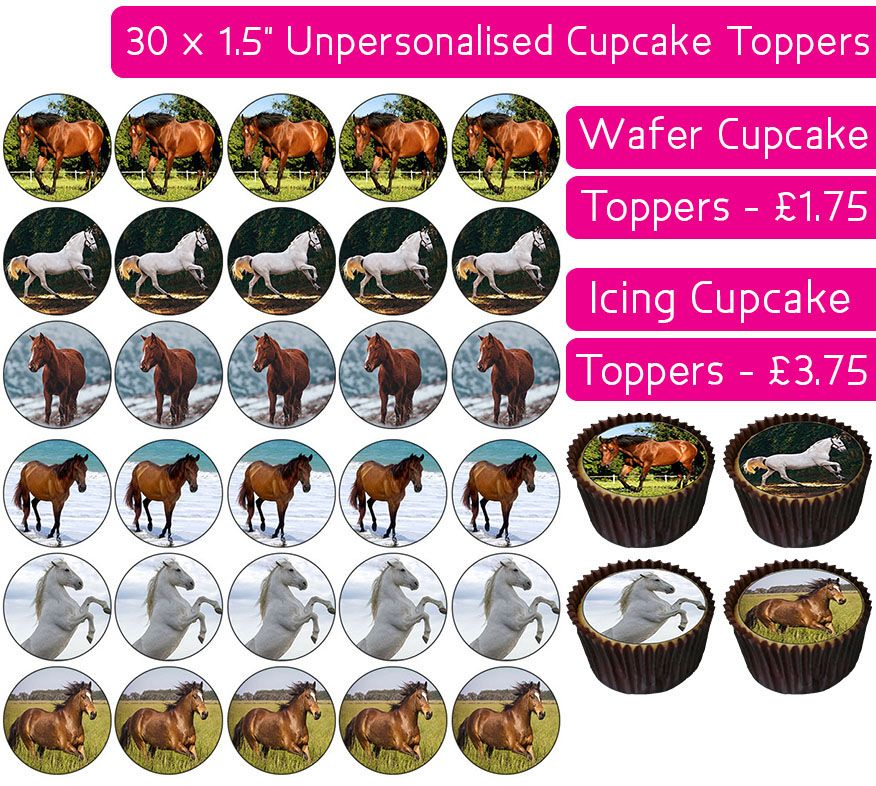 Horses - 30 Cupcake Toppers