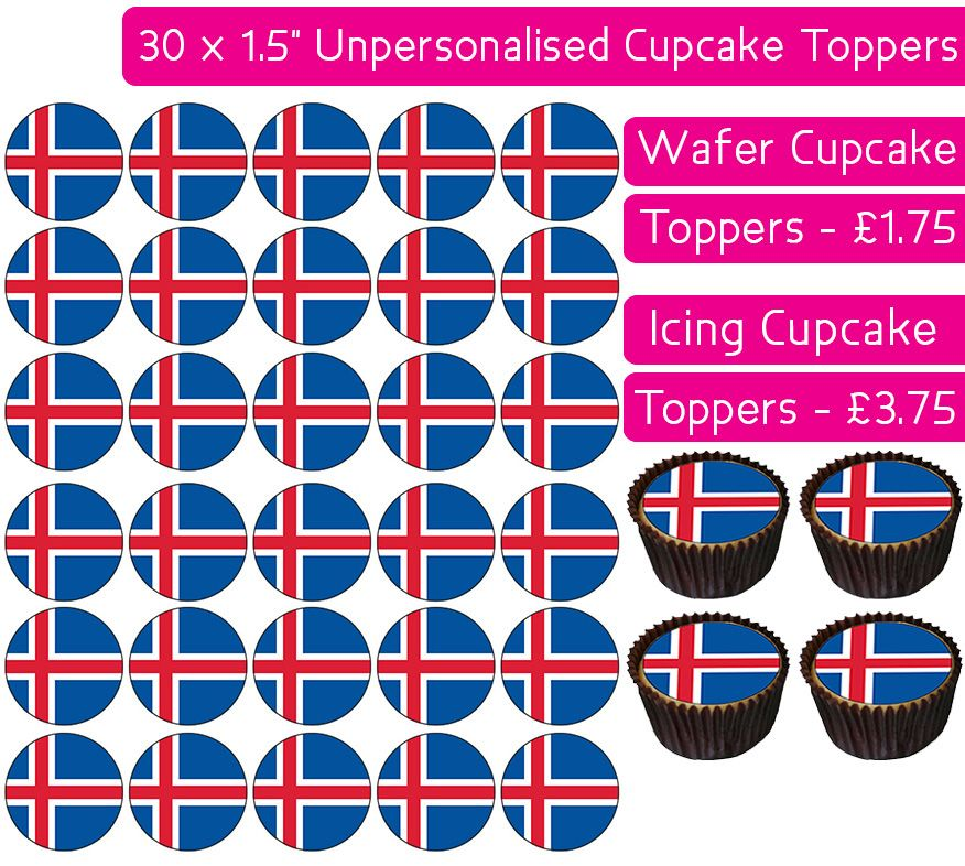 Iceland Flag - 30 Cupcake Toppers