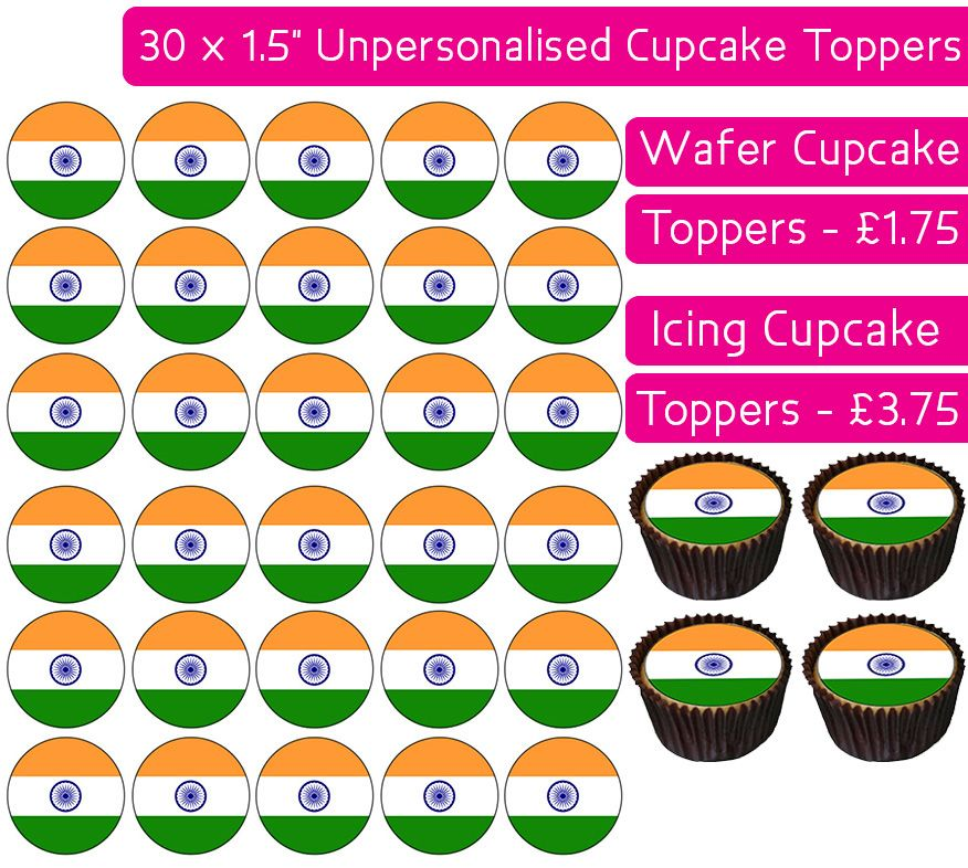 India Flag - 30 Cupcake Toppers