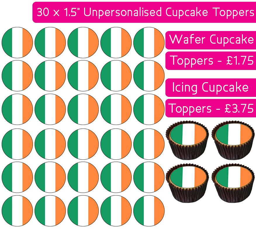 Ireland Flag - 30 Cupcake Toppers