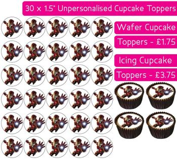 Iron Man - 30 Cupcake Toppers