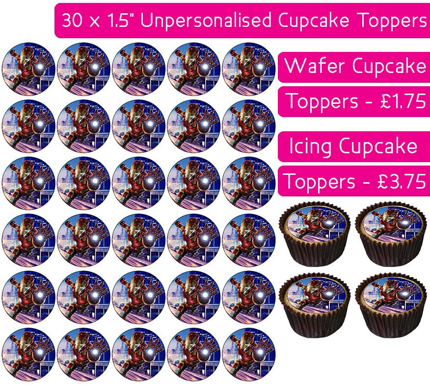 Iron Man City - 30 Cupcake Toppers