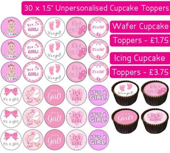 It's a Girl - 30 Cupcake Toppers