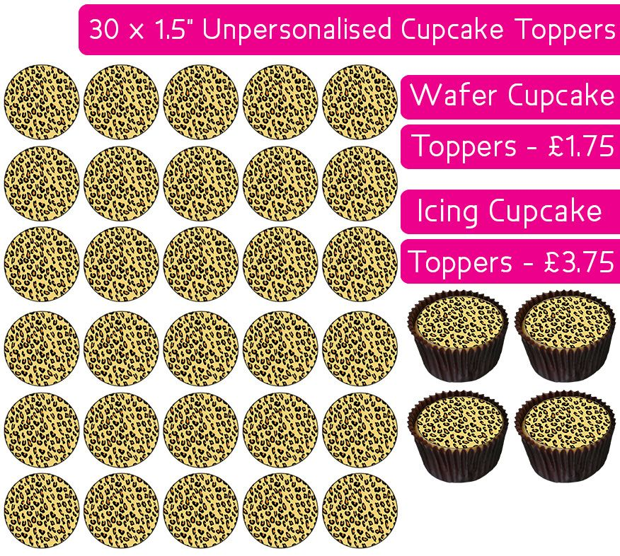 Leopard Print - 30 Cupcake Toppers