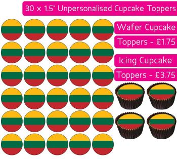 Lithuania Flag - 30 Cupcake Toppers