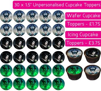 Maleficent - 30 Cupcake Toppers