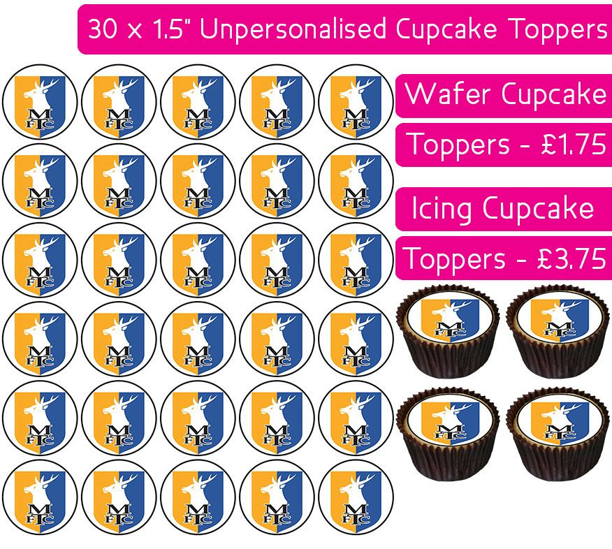 Mansfield Town Football - 30 Cupcake Toppers