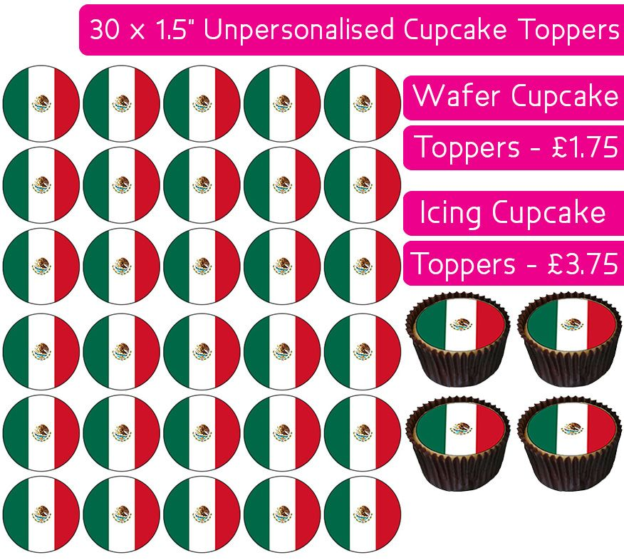 Mexico Flag - 30 Cupcake Toppers
