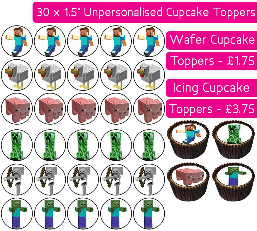 Minecraft - 30 Cupcake Toppers
