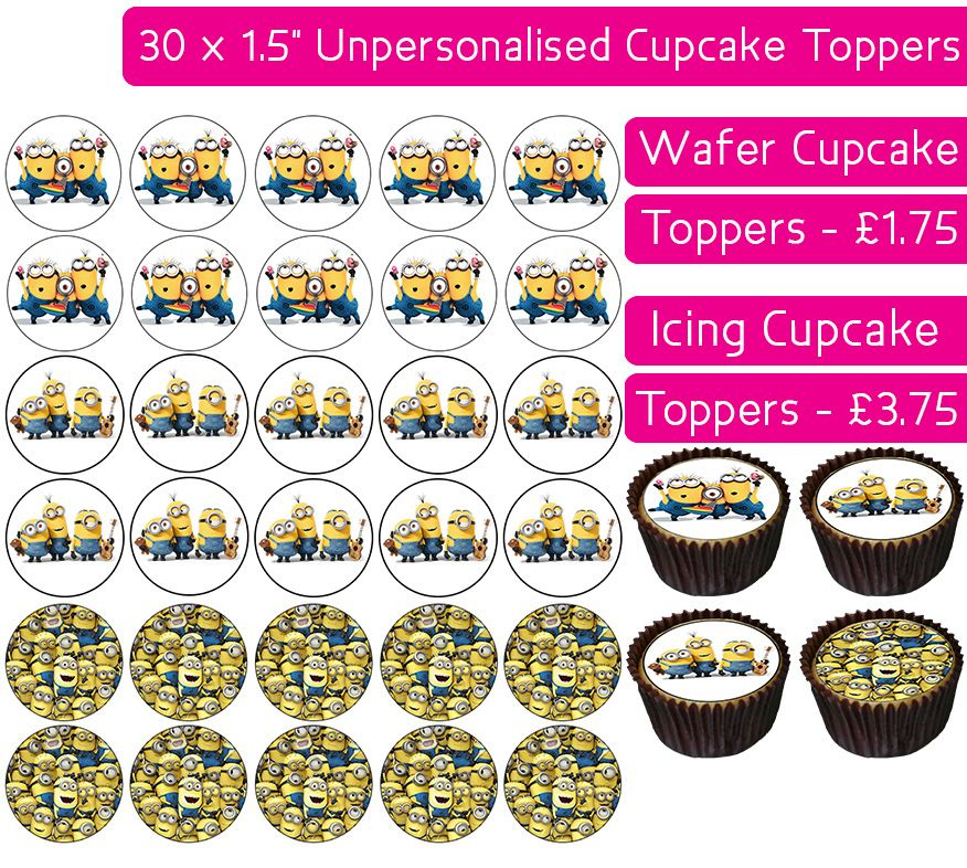 Minions - 30 Cupcake Toppers