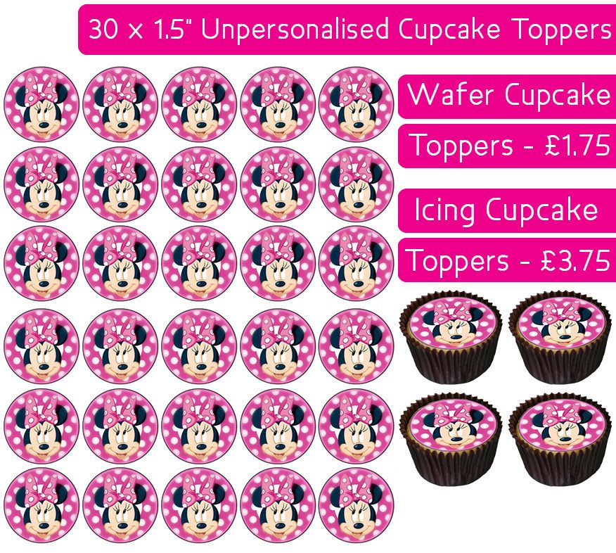 Minnie Mouse - 30 Cupcake Toppers