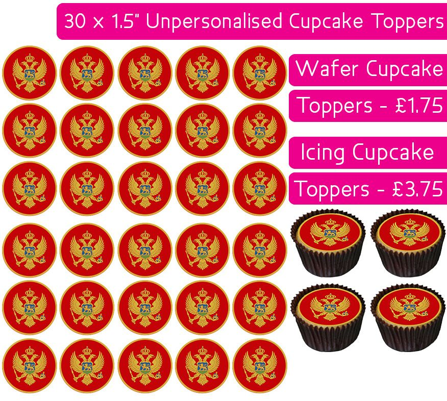 Montenegro Flag - 30 Cupcake Toppers