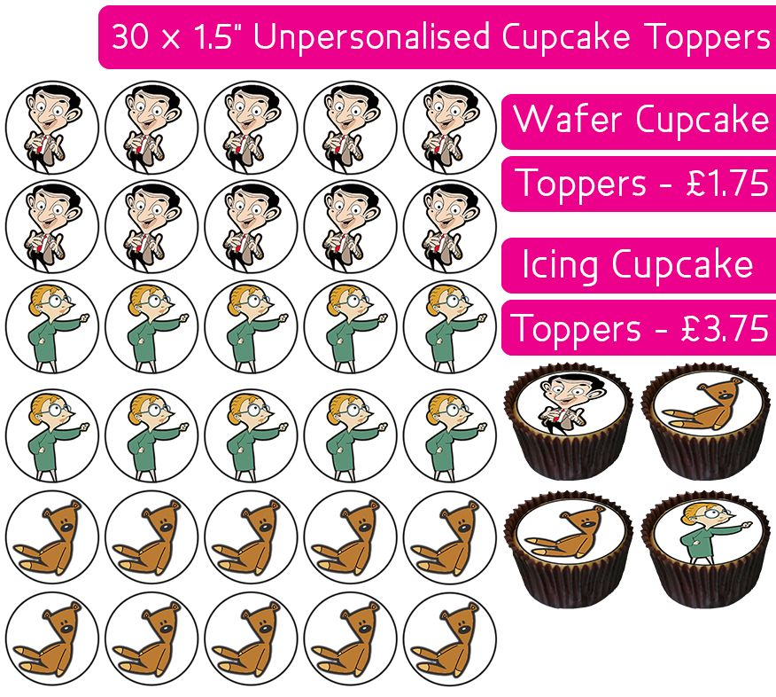 Mr Bean - 30 Cupcake Toppers