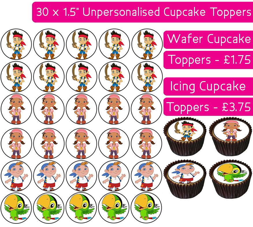 Neverland Pirates - 30 Cupcake Toppers
