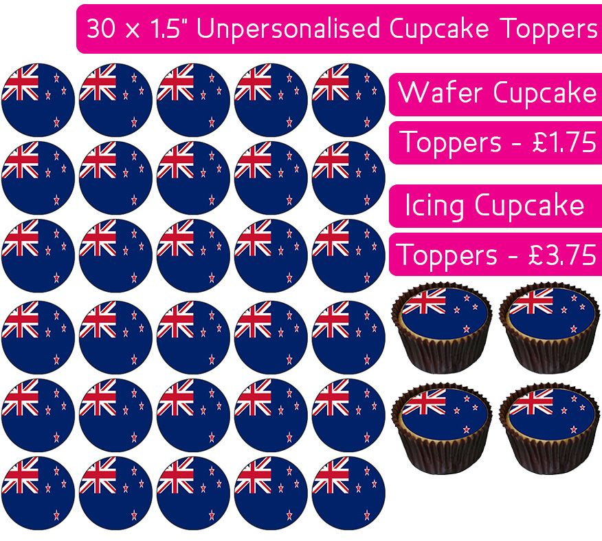 New Zealand Flag - 30 Cupcake Toppers
