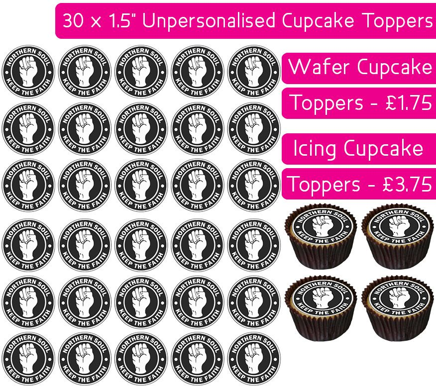 Northern Soul - 30 Cupcake Toppers