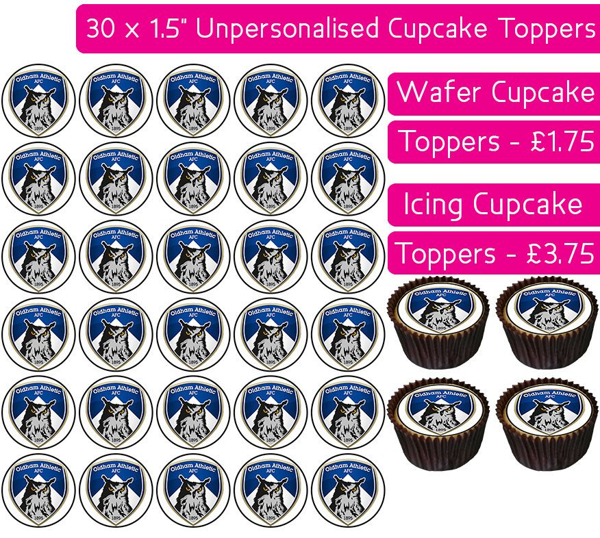 Oldham Athletic Football - 30 Cupcake Toppers