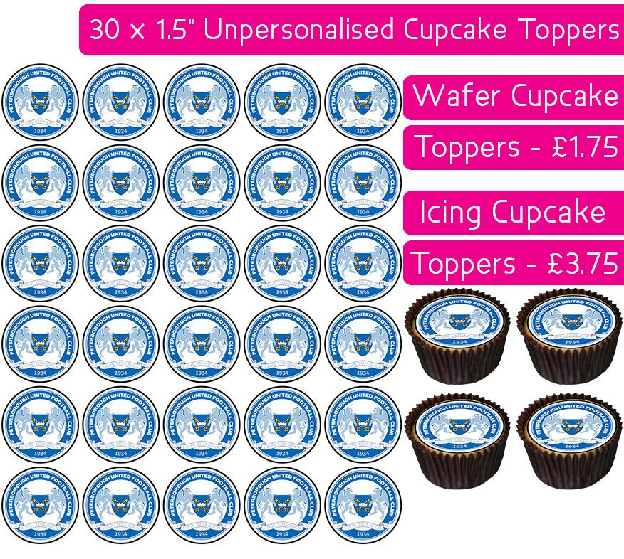 Peterborough United Football - 30 Cupcake Toppers