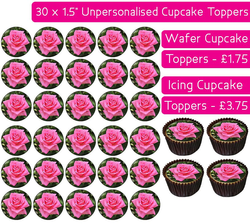 Pink Roses - 30 Cupcake Toppers