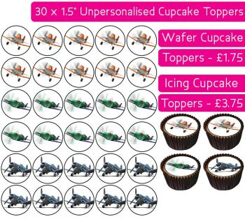Planes - 30 Cupcake Toppers