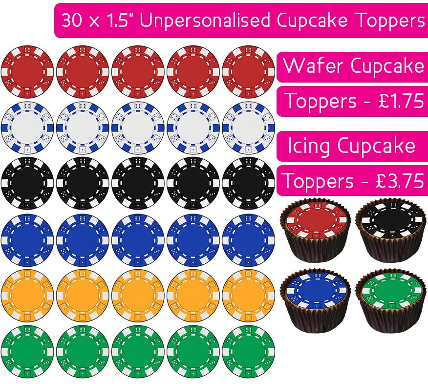 Poker Chip - 30 Cupcake Toppers