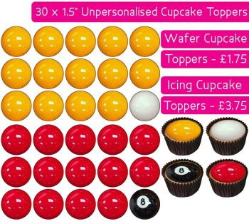 Pool Balls - 30 Cupcake Toppers