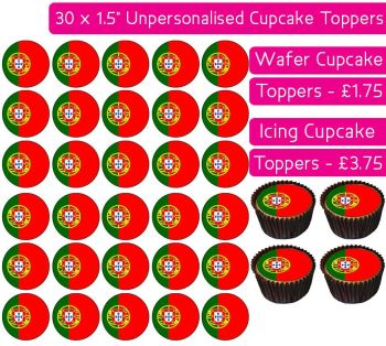 Portugal Flag - 30 Cupcake Toppers