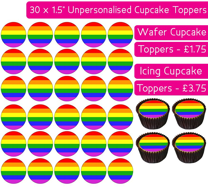 Rainbow Flag - 30 Cupcake Toppers