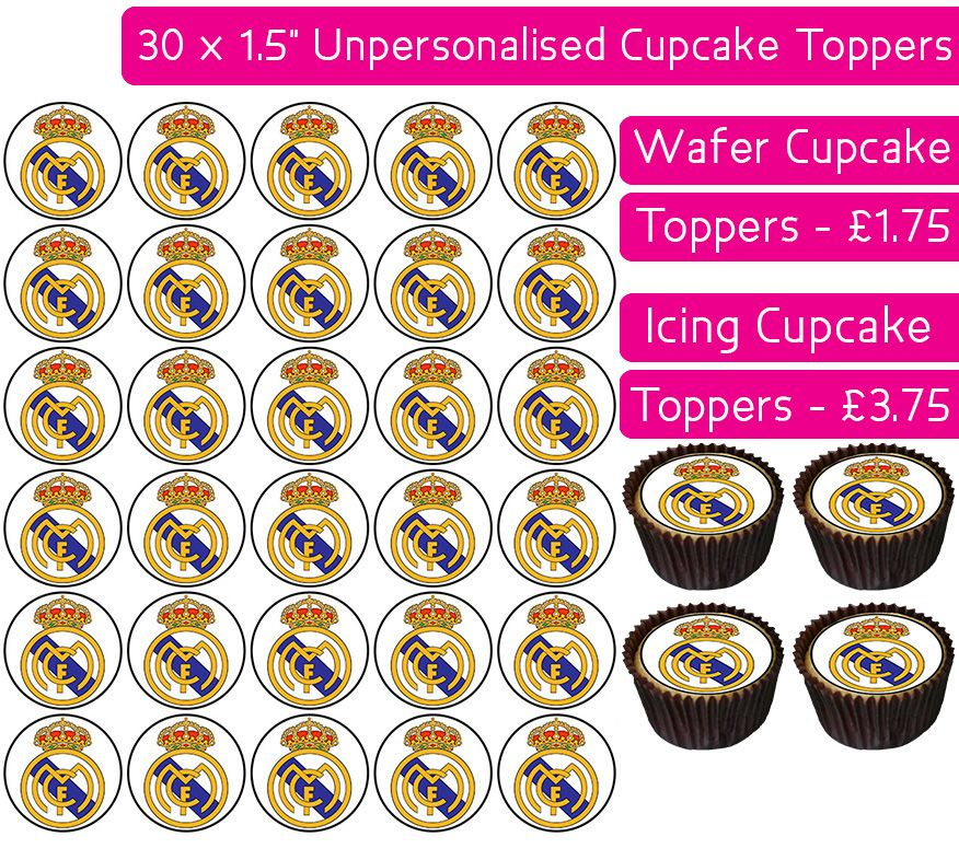 Real Madrid Football - 30 Cupcake Toppers