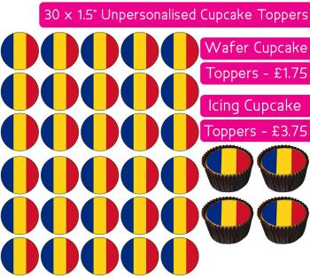 Romania Flag - 30 Cupcake Toppers