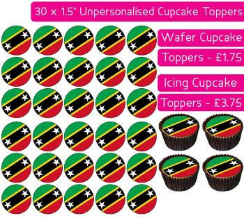 Saint Kitts & Nevis Flag - 30 Cupcake Toppers