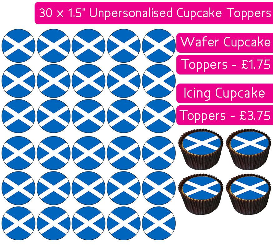 Scotland Flag - 30 Cupcake Toppers