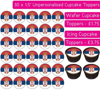 Serbia Flag - 30 Cupcake Toppers