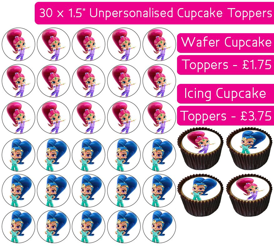 Shimmer and Shine - 30 Cupcake Toppers