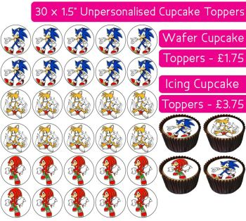 Sonic The Hedgehog - 30 Cupcake Toppers